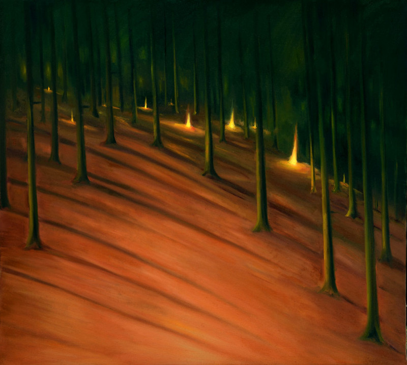 The Lights in the Forest, 2014, 110 x 110 cm, oil on canvas
