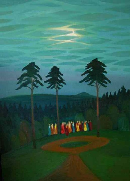 Children next to pine-trees, 2004, 139 × 100 cm, oil on canvas